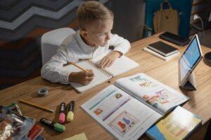 a child attending an online class