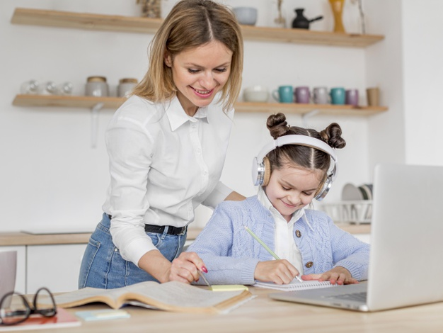 a mother checking in with her daughter after online school