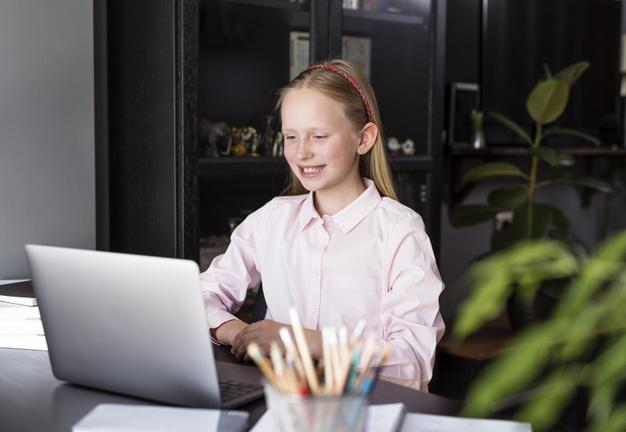 a student attending an online class 1