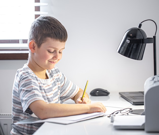 a young student attending online school